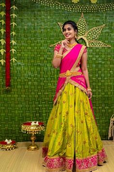 Let's discuss traditional dress which has been in highlight for quite a sometime, which is Half Saree and see some of the trending designs in half sarees. Lehenga Saree Design, Half Saree Lehenga, Lehnga Dress, Sari, Saree Look, Lehenga Designs, Indian Lehenga, Wedding Saree Blouse Designs, Half Saree Designs