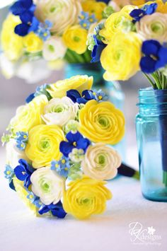 Blue and yellow wedding flowers dk designs butter yellow ivory and blues wallpaper prom flower bouquets royal blue yellow, bouquet marine jaune aurlie Blue Yellow Weddings, Yellow Wedding Flowers, Yellow Flowers, Wedding Colors, Color Yellow, Perfect Wedding, Our Wedding, Trendy Wedding, Wedding Blue
