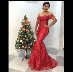 Red off shoulder gown