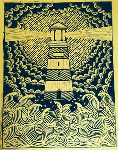 Restless Images: Lighthouse Lino Print by delia Art And Illustration, Linocut Prints, Art Prints, Block Prints, Lino Art, Linoprint, Wood Engraving, Woodblock Print, Printmaking
