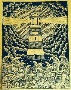 Restless Images: Lighthouse Lino Print by delia Art And Illustration, Linocut Prints, Art Prints, Block Prints, Linoprint, Wood Engraving, Woodblock Print, Printmaking, Illustrator