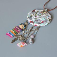 Textile Necklace Dream catcher от ATLIART на Etsy Source by hepfls Ethnic jewelry. Textile Necklace Dream catcher от ATLIART на Etsy Source by hepfls Fiber Art Jewelry, Textile Jewelry, Fabric Jewelry, Ethnic Jewelry, Bohemian Jewelry, Jewelry Art, Beaded Jewelry, Jewelry Design, Fabric Necklace