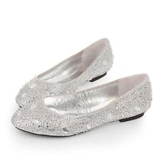 ... Rhinestone Silver Wedding Evening Party Shoes Flat 1cm For Sale Online