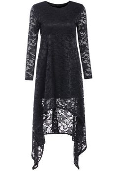 Black Long Sleeve Lace Crochet Asymmetrical Dress