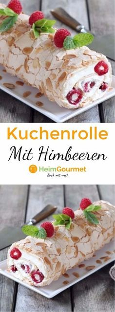 BAISER und HIMBEEREN in traumhafter Kuchenrolle This cake roll made of meringue, almonds, raspberries and a mascarpone cream is a noble but light dessert. Sweet Recipes, Cake Recipes, Dessert Recipes, Different Cakes, Food Cakes, Cakes And More, No Bake Desserts, Yummy Cakes, Eat Cake