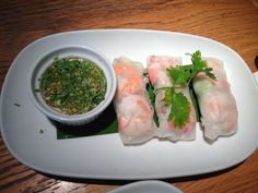 Vietnamese rice paper spring rolls with shrimp n sour sauce