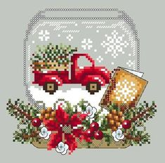 Christmas Truck Snow Globe cross stitch pattern by Shannon Wasilieff. An upside down mason jar houses this cute little red truck carrying a Christmas tree home in the snow. Pattern stitch count is: by and uses DMC, Kreinik and Mill Hill beads. Xmas Cross Stitch, Cross Stitch Fabric, Counted Cross Stitch Patterns, Cross Stitch Charts, Cross Stitch Designs, Cross Stitching, Cross Stitch Embroidery, Cross Stitch Train, Hand Embroidery