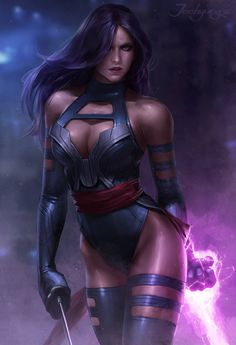 Psylocke - Xmen - Comic Book Art - Marvel Comics - X-Men Comic Book Characters, Marvel Characters, Comic Character, Comic Books Art, Female Characters, Comic Art, Book Art, Female Villains, Heros Comics