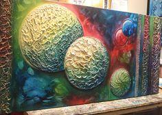 Moderno abstracto con textura pintura Original planetas