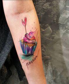 Cute Watercolor Cupcake Tattoo by Simona Blanar