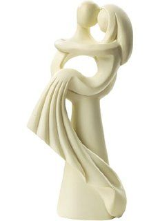 Brautpaar: Hochzeitspaar, 10 cm, creme, moderner Stil, Polyresin