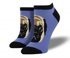 It's a pug lyfe! Detailed graphic pug face on periwinkle blue with black toe, heel & band. These cute peds are 63% cotton, 34% nylon, 3% spandex. Fits approximate women's shoe sizes 5–10.5.