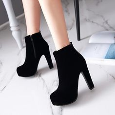 Flock Zipper Platform Ankle Boots High Heels 3828 Heel height: 12 cm Platform height: 4 cmSole: 10 cmCircle: 26 cmColour: Black, RedSize: US 12 Thickness: cm (When Plus / Minus A -Size thickness is: inches) Platform Ankle Boots, Platform High Heels, High Heel Boots, Shoe Boots, Black Platform, Black Boots With Heels, High Heeled Ankle Boots, Cute Black Heels, Ankle Heels