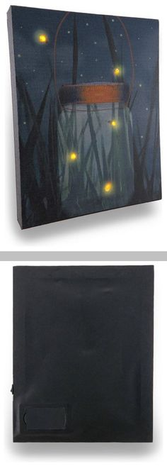 DIY Inspiration :: Flickering Jar of Fireflies ~ lighted LED canvas wall hanging. 8x10x1, switch on side. Canvas is stretched over a wood frame backed with vinyl to safely house the wires, while providing access to the battery compartment. Requires 2 AA batteries . . .  ღTrish W ~ http://www.pinterest.com/trishw/  . . .