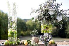 Using fruit in wedding floral design| Image by Les Productions de la Fabrik see full wedding http://goo.gl/vAAdQX