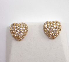 Christian Dior Earrings Signed Heart Pave Set Crystals Rhinestones Gold 954  #ChristianDior