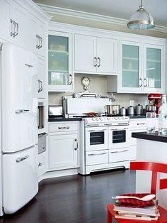 Vintage White Appliances With Dark Wood Floor   Cabinets Too Modern