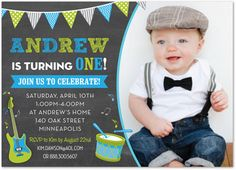 First birthday invitation boy birthday door anietillustration 1st making music blue green photo birthday party invitations for boy 36034 stopboris