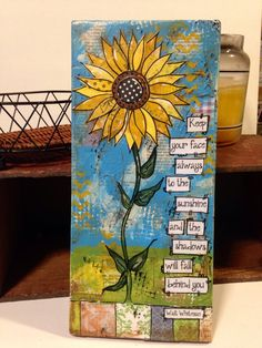 Sunflower Decor Sunflower sign mixed media by heartfeltByRobin