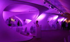 Doha, Qatar; Interior space with flowing architecture; organic design