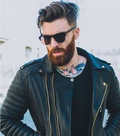 Different Beard Styles, Beard Styles For Men, Hair And Beard Styles, Hair Styles, Beard Haircut, Beard Model, Black Leather Biker Jacket, Perfect Beard, Beard Tattoo