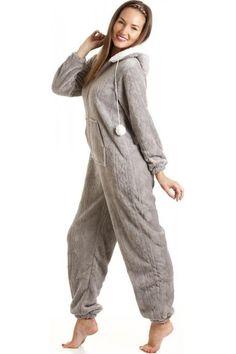 4a1034e7ace71 Camille Grey Luxury Super Soft Fleece Hooded All In One Onesie Luxury  Nightwear, Christmas Pajamas