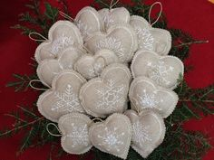Embroidered Snowflake Linen Heart Christmas Ornaments /Bowl