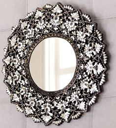 Cut-Glass Mirror by Eva Designs: Glass-emblazoned mirror with symmetry that gives balance to the intricacy of the mirrored pieces, I Love Mirrors, Beautiful Mirrors, Mirror Mirror, Wall Mirrors, Mirror Image, Mirrored Picture Frames, Through The Looking Glass, Mercury Glass, Cut Glass