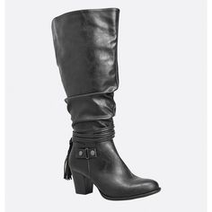 Avenue Joey Tassel Heeled Boot (€32) ❤ liked on Polyvore featuring shoes, boots, black, plus size, faux-fur boots, black strappy boots, black knee high boots, tall black boots and stretch boots