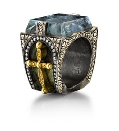 Giza Ring by Michael Barin Organic Silver and 18 Karat Yellow Gold Giza Ring, accented with White and Yellow Diamonds