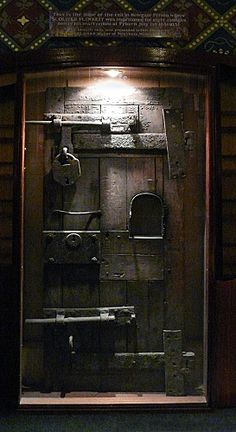 St. Oliver Plunkett`s cell door. The door from the condemned cell of Newgate Prison, London and St. Oliver would have occupied this cell as a condemned man for the last few weeks of his life in 1681. It is now situated at St. Peter`s Church Drogheda Co. Louth Ireland.