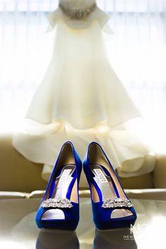 Perfection! Royal Blue heels and Ivory peplum customized wedding dress. #weddingdress #royalblueshoes #photography #naturallighting