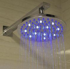 "Alfi Brand 8"" LED Rain Shower Head - Round Led Shower Head, Rain Shower, Shower Heads, Water Lighting, Chandelier, Bulb, Ceiling Lights, Showers, Candelabra"