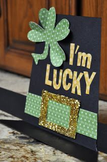 You can actually make and wear this leprechaun hat, or you can modify it slightly for a handmade St Patrick's Card! Love the gold glitter belt and shamrock that has folds to help it jump off the page.