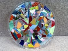 Serving Tray Round Stained Glass Mosaic 12 by MountainMosaicsmore