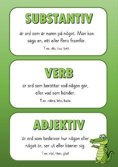 Substantiv, verb och adjektiv Noun, verb and adjective Learn Swedish, Swedish Language, Teacher Education, Writing Words, Preschool Activities, Good To Know, Elementary Schools, Teaching, Barn