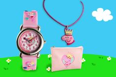 3pc Peppa Pig Watch, Purse and Necklace Set