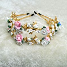 New Arrival Baroque Headband Hairband Colorful Flowers pearl Hair Jewelry Gold Plated Hairwear for Women bride jewelry