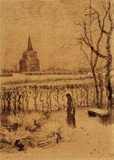 Melancholy, 1883 by Vincent van Gogh. Realism. genre painting. Van Gogh Museum, Amsterdam, Netherlands