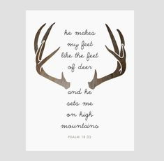INSTANT DOWNLOAD. Psalms Quote, Deer Antlers, Christian Bible Verse, Modern Wall Art - Multiple Sizes