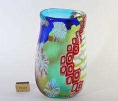 Formschöne Vase aus  Murano Glas Battuto Stellato Murrine Vetreria Pagnin