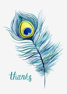 Margaret Berg Art: Peacock+Feather+Thank+You