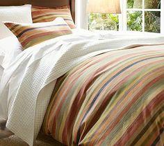 for rustic fall - Logan Stripe Duvet Cover & Sham #potterybarn