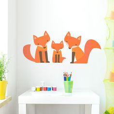 This adorable fox family decal is a great addition to nurseries, playrooms, or bedrooms! Available in 3 sizes and two colors - Tri Color or all