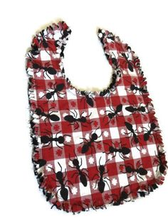 Ants on a  bib reversible red white check black by LeahsHeart
