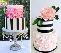 Os bolos listrados dão um toque moderno à mesa de doces, mas também podem ser românticos, delicados, divertidos... Tudo depende dos elementos com que você