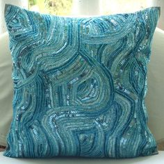 Decorative Throw Pillow Covers 16x16 Silk Embroidered Accent Bead Pillow Cover Toss Sofa Couch Pillows Bed Pillow Case Bedding Aqua Infinity