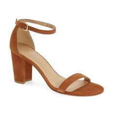 """Stuart Weitzman 'NearlyNude' Ankle Strap Sandal, 2 3/4"""" heel ($398) ❤ liked on Polyvore featuring shoes, sandals, saddle sude, buckle sandals, ankle tie sandals, high heel shoes, suede shoes and chunky high heel sandals"""