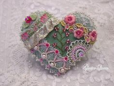 Victorian looking crazy quilt heart felt pin / by GlosterQueen, $37.00