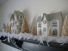 white feather boa for winter mantel love!